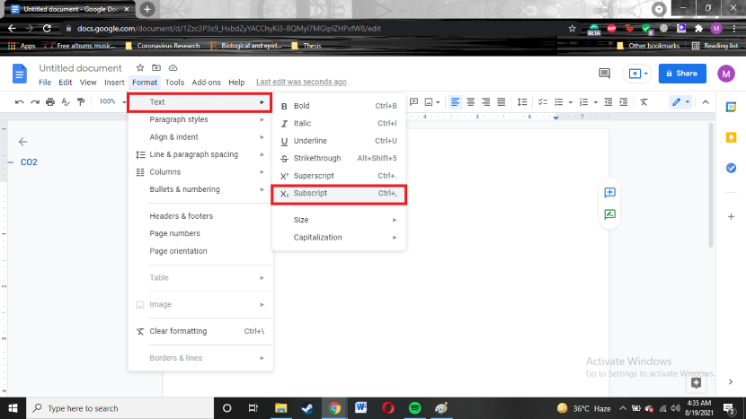 How to subscript your text in google docs