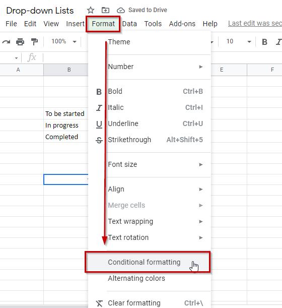 Google Sheets drop down